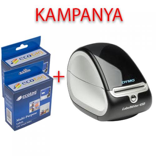 Dymo 450 Etiket Yazıcı ve Ecotag 54 x 25 Etiket