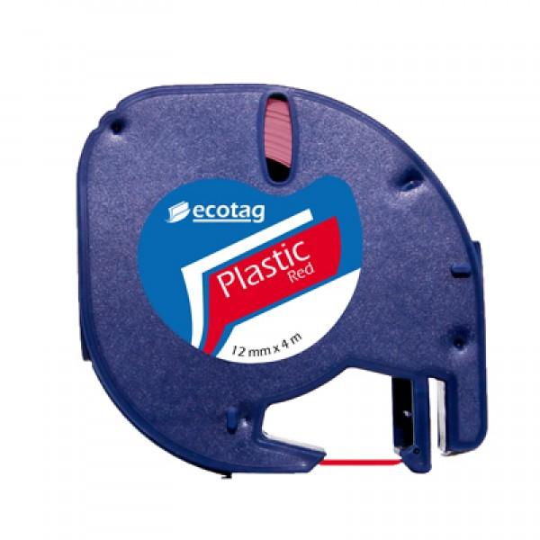 Dymo Letratag Muadili Plastik Serit Etiket Kırmızı 12 mm x 4 m